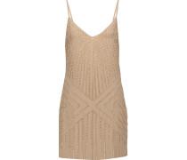 Melina Embellished Satin Mini Dress Beige