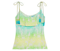 Ruffled Printed Silk Top Mehrfarbig