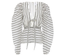 Burnout-effect Striped Wool And Silk-blend Organza Blouse