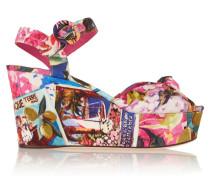 Portofino Printed Faille Wedge Sandals Fuchsia