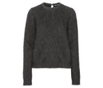 Leopard print-paneled faux fur sweater