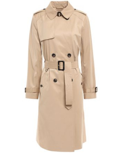 Woman Belted Cotton-blend Gabardine Trench Coat Neutral