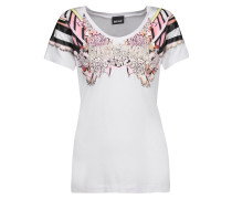Studded Printed Stretch-jersey T-shirt Weiß