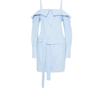 Cold-shoulder Belted Striped Cotton-twill Mini Dress