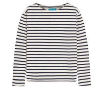 Striped Cotton-jersey Top Weiß