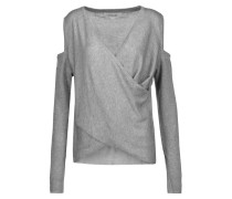 Wrap-effect Cold-shoulder Silk And Cashmere-blend Sweater Grau