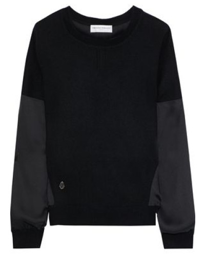 Satin-paneled Cashmere And Wool-blend Sweater Black