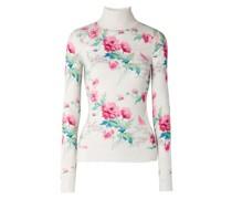 Distressed Floral-print Cashmere Turtleneck Sweater