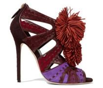 Vivyan embellished leather-trimmed suede sandals