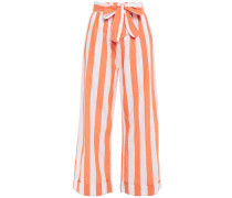 Bow-detailed Striped Cotton-broadcloth Wide-leg Pants