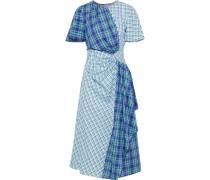 Woman Draped Checked Cotton Midi Dress Blue