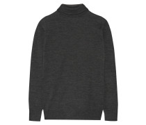 Fine-knit Wool Turtleneck Sweater Dunkelgrau