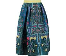 Circle Printed Cloqué Skirt Türkis