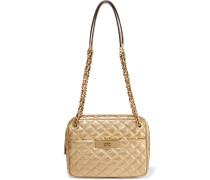 Susannah Metallic Quilted Leather Shoulder Bag Gold
