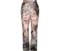Printed cotton and silk-blend twill straight-leg pants