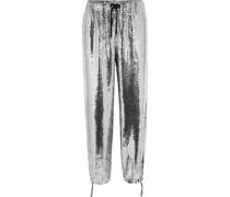 Sequined chiffon straight-leg pants