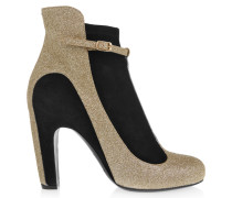 Glittered Suede Ankle Boots Gold