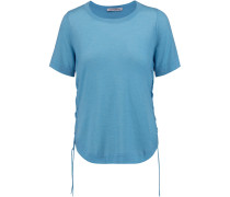 Lace-up Cashmere T-shirt Azurblau