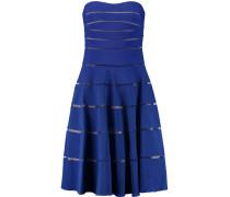 Bandeau Mesh-paneled Ribbed Stretch-jersey Dress Königsblau