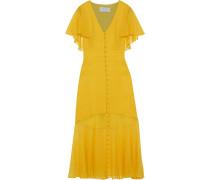 Woman Fluted Chiffon-paneled Silk-crepe Midi Dress Yellow