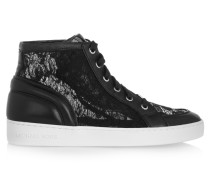 Philippa Lace And Leather High-top Sneakers Schwarz
