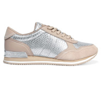 Jamie Metallic Snake-effect Leather And Suede Sneakers Silber