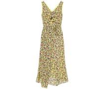 Penelope Bow-detailed Floral-print Silk Crepe De Chine Midi Dress