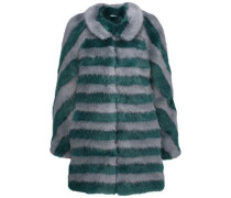 Jean striped faux fur coat