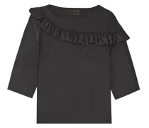 Ruffle-trimmed Stretch Wool-blend Crepe Top Schwarz