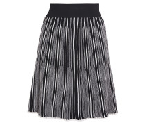 Pleated Striped Jacquard-knit Mini Skirt