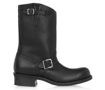 Engineer Buckled Leather Boots Black