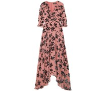 Edith Ruffled Flocked Chiffon Maxi Dress