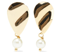 Torny Hammered 18-karat -plated Faux Pearl Earrings