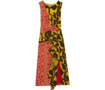 Woman Draped Fil Coupé Peplum Midi Dress Yellow