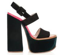 Velvet And Suede Platform Sandals Schwarz