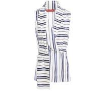 Draped Striped Jacquard Top