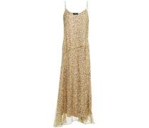 Slip Dress aus Seiden-georgette in Maxilänge mit Leopardenprint