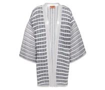 Sequin-embellished Metallic Striped Crochet-knit Cardigan