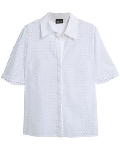 Broderie Anglaise Cotton Shirt White