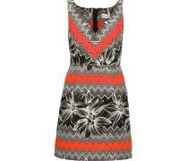 Mitered Pleated Printed Cotton-blend Mini Dress Mehrfarbig