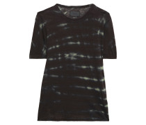 Woman Tie-dyed Cotton And Cashmere-blend T-shirt Black