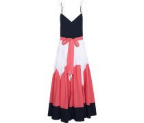 Woman Bow-detailed Color-block Cotton-poplin Maxi Dress Multicolor