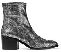Livv metallic snake-effect stretch-leather ankle boots