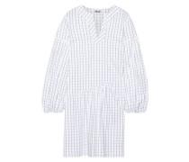 Abony Checked Cotton-blend Poplin Dress White