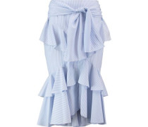 The Parker belted ruffle-trimmed striped cotton-blend midi skirt