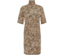 Minikleid aus Stretch-jersey mit Rollkragen und Leopardenprint