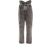 Woman Fastix Fold-over High-rise Straight-leg Jeans Anthracite
