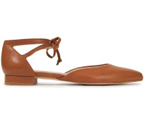 Penelope Cutout Leather Point-toe Flats