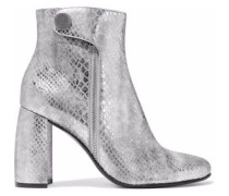 Paden Metallic Snake-effect Faux Leather Ankle Boots Silver