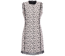 Floral Appliquéd Cotton-blend Tweed Mini Dress